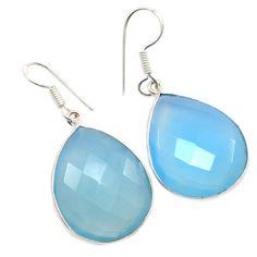Silvestoo India Blue Chalcedony Gemstone 925 Sterling Silver Earring PG-100762   https://www.amazon.co.uk/dp/B06XXJ1KPL