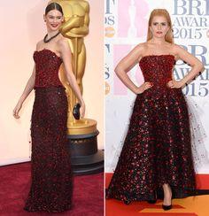 A la izquierda, Behati Prinsloo, en los Oscar; y, a la derecha, Paloma Faith, en los Brit Awards. Ambos diseños, de Giorgio Armani Privé.