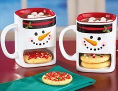 Winter Snowmen Cookie Holder Mugs