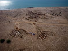 An aerial view of Kuwait's Failaka Island shows four different sites representing thousands of years of civilization.