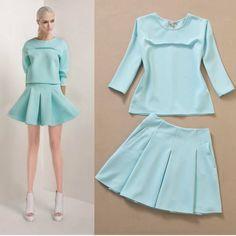 Free Shipping 2014 3/4 sleeve Blouse+Pleated Skirt Skirt Set 140527X02 $63.80