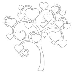 Bubble Tree coloring page Tree Coloring Page, Colouring Pages, Adult Coloring Pages, Coloring Books, Kids Coloring, Valentine Coloring Pages, Hearts And Roses, Red Roses, Heart Tree