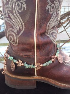 Boot Jewelry Butterflies and Turquoise Stone by BrownBoxCreations, $20.00