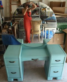 gorgeous - SOLD-Turquoise Deco Waterfall Vanity-Antique. $295.00, via Etsy.