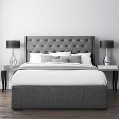 Safina Double Wing Back Ottoman Bed with Stud Detail in Woven Charcoal Grey Grey Headboard, Grey Bedding, Bedding Sets, Room Ideas Bedroom, Home Bedroom, Master Bedrooms, Double Divan Bed, Double Beds, Bedroom Decor