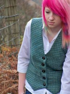 Dogs tooth check Ladies Waistcoat Teal WB - Hand made clothing Welsh Tweeds