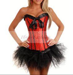 New Red Burlesque Polka Dot Corset with tutu Skirt