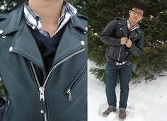 Leather jacket & plaid shirt