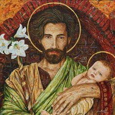 Beautiful painting of Saint Joseph holding the infant Jesus (the artist is João Fucci)