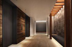 1Fエレベーターホール完成予想CG Hotel Corridor, Elevator Lobby, Dark Hallway, Gym Room, Lobbies, Hotel Lobby, Entrance Hall, Ceiling Design, Office Interiors