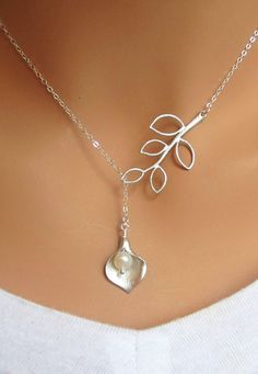 Calla Lily and Branch sterling silver lariat by RoyalGoldGifts, $25.00