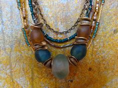 African Glass and Brass Beaded Necklace by StudioBeeZee on Etsy, $110.00