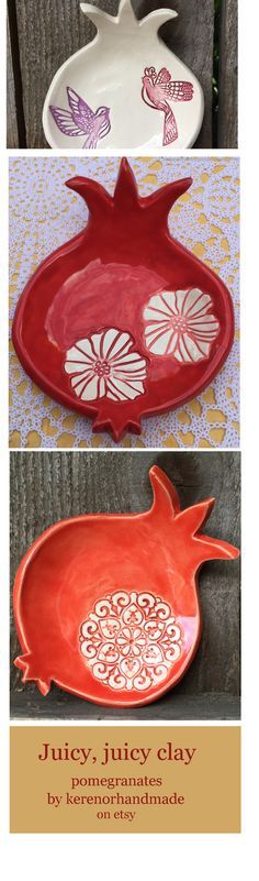 Ceramic pomegranate dishes by kerenorhandmade on easy * If we had a good red, I would try some slab work for this