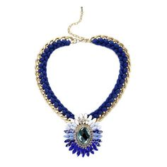 Blue Crystal Woven Chain Necklace