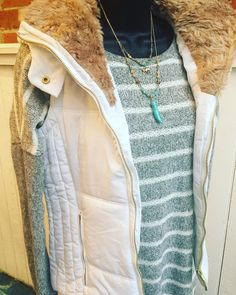 A favorite vest!! White sheerling vest- $36.95 Grey striped sweater- $32.95 Statement necklace- $18.95  #madisonsbluebrick #downtownhotsprings #winterfashion #vest #shoplocal