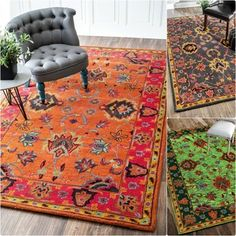 This area rug features a trendy overdyed traditional design. Made of wool, the soft and plush rug was meticulously hand-crafted to create softness under your foot. Home Decor Store, Home Decor Outlet, Wool Area Rugs, Wool Rug, Contemporary Area Rugs, Jute Rug, Cow Hide Rug, Orange Rugs, Traditional Design