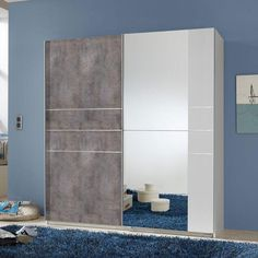 Stream Sliding Wardrobe In Alpine White With Concrete Coloured