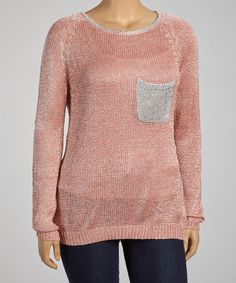 Take a look at this Fashion Ai Coral Pocket Sweater - Plus on zulily today!
