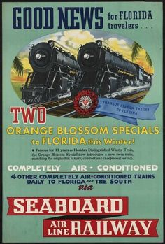 "11x17 ""Orange Blossom Specials Express Trains- to Florida Steam Trains Seaboard Air-Line Railway"": Old-Vintage-Antique Reproduction Travel Photograph/Photo/Poster/Print Nevada Antiques and Collectibles LLC,http://www.amazon.com/dp/B00HMFMA8Q/ref=cm_sw_r_pi_dp_MNnntb19WQ96QP7B"