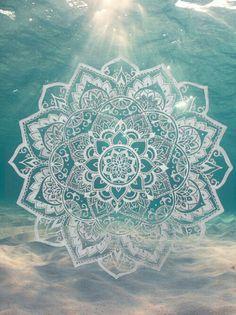 blue water sea lotus mandala namaste