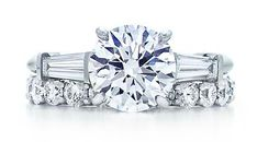 Tifany & Co brilliant round solitaire diamond engagement ring with tapered baguettes on the side, and a beautiful shared-setting band ring. $48,000 www.tiffany.com Budget tip: Searching the internet is a great way to find reasonable prices to help you choose the right diamond. Just remember that the five C's (cut, color, clarity, carat, and certification) are the most important characteristics of buy a diamond. www.bluenile.com