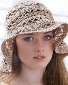 Crochet beige hat ♥LCH-MRS♥ with diagram. --- Связать шляпу крючком