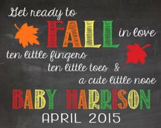 FALL Pregnancy Announcement Chalkboard Printable