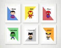 Superhero Print Set Superhero Wall Art Girls Room Superhero
