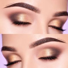 Soft Gold Smokey Eyes #smokeymakeup See our complete guide on eyeshadow. We have many tips and ideas on the application of makeup, which colorful palette to pick. #eyeshadowguide #eyeshadow #makeup #glaminati #lifestyle