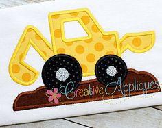 Excavator Applique Design by AppliqueChick on Etsy