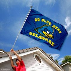 Delaware Fightin' Blue Hens UD University Large College Flag by College Flags and Banners Co.. $29.95. Officially Licensed and Approved by University of Delaware. 3'x5' in Size with two Metal Grommets for attaching to your Flagpole. College Logos viewable on Both Sides (Opposite side is a reverse image). Perfect for your Home Flagpole, Tailgating, or Wall Decoration. Made of Polyester with Quadruple-Stitched Flyends for Durability. Our Delaware Blue Hens Flag measures 3x5 fee...