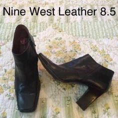 Black Nine West leather booties boot Nine West leather short boots / booties size 8.5 Bundle deals available (I carry various sizes and brands): 2 items 10% off, 3 items 15% off, 4 items or more 20% off  Nine West Shoes Ankle Boots & Booties