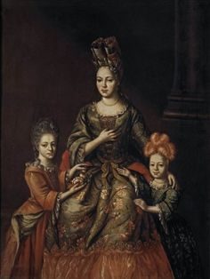Unknown Artist Portrait of A.Ya.Naryshkina with her children Alexandra and Tatyana First quarter of the 18th century