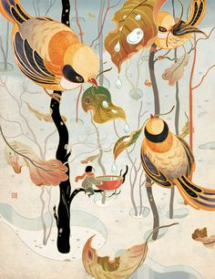 The little birds are of few words, but they've made their thoughts on snow and rain pretty clear. Illustration by found via… Art And Illustration, Illustrations And Posters, Botanical Illustration, Art Asiatique, Colossal Art, Wow Art, Art Graphique, Chinese Art, Chinese Painting