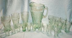 Glass Coca-Cola Pitcher and 19 Glass Tumblers in Mugs, Cups & Steins | eBay
