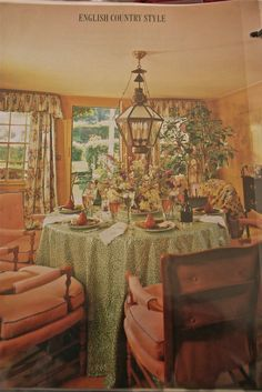 """Country dining room by Mario Buatta, the """"Prince of Chintz""""; House Beautiful, November 1985"""