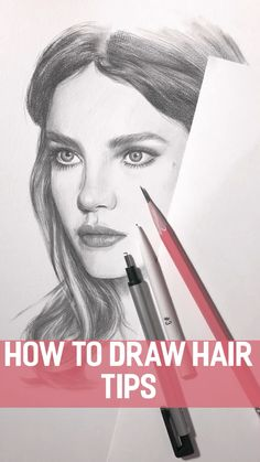 How to draw hair. Tips Just basic tips but important to know to improve your drawing skills of hair or a portrait Portrait Drawing Tips, Pencil Portrait, Portrait Art, How To Draw Portraits, Pencil Art Drawings, Realistic Drawings, Art Drawings Sketches, Drawing Skills, Drawing Techniques