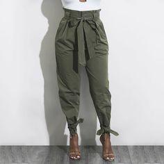 Casual High Waist Ankle Length Pants 2018 Hot Sale Women Elastic Tie waist Trousers With Pockets Trousers women Paper bag pants Tie Waist Trousers, Baggy Trousers, Trousers Women, Pants For Women, Harem Pants, Highwaisted Trousers, Jogger Pants, Jeans Pants, Denim Jeans