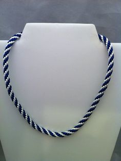 Navy Blue and White Striped Necklace  Kumahimo by Midnightbeads
