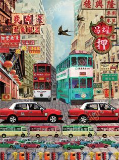 For this design I wanted to capture the busy hustle and bustle of the Central district of HK - The traditional signs, iconic trams, the traffic, and the street furniture that you see all around you when  you are walking the pavements in this vibrant city. I spent many hours taking photos of taxis, trams and buses, but my personal favourite HK icon in this print is the 'Pawn Shop' sign on the top right. www.louise-hill-design.com