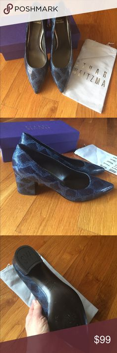 Stuart Weitzman blue reptile pumps.  9 1/2. NEW Stuart Weitzman FirstClass pumps in blue rattler embossed leather. Size 9.5.  New in box.  Only worn to try on. Stuart Weitzman Shoes Heels