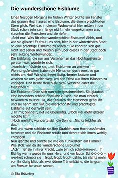 The beautiful ice flower * Elkes children's stories Elke Bräunling, Ibs Relief, Word Express, Diets For Beginners, German Language, Yoga For Kids, How To Stay Motivated, Storytelling, Inspirational Quotes