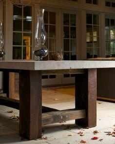 Concrete top on amazing wood base