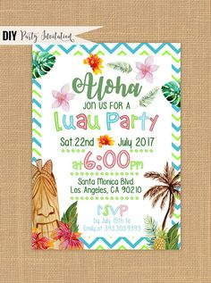 Luau invitation - Printable Luau Birthday invitations  | Hawaiian luau birthday invitations | Aloha birthday party invitations