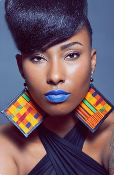 This is so beautiful. I love the Kinte Cloth earrings, but there is something about the blue lipstick that makes this gorgeous!