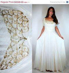 LABOR DAY SALE Art Deco 30s Silk Chiffon Gown. Vintage White Goddess Dress. Boho Shelf Bust Wedding Maxi Sequined Beaded Drape Grecian Extra by BluegrassVoodoo on Etsy
