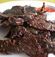 Thai Beef Jerky better known as Heavenly Beef or Nua Sawan in Thai has a sweetish and a slightly saltish taste and flavor. If you are looking for a recipe for steak, do not go past this delicious Thai Recipe.