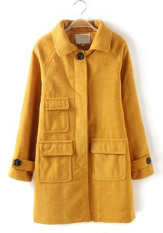 Yellow Plain Buttons Pockets Long Sleeve Wool Coat