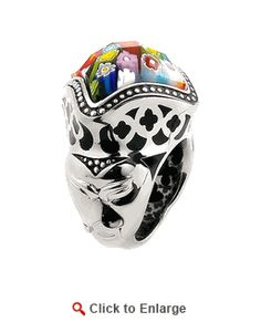 Sterling Silver Exquisite Mask Black Murano Glass Ring