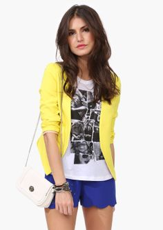 Fun summer style! - minus the yellow blazer..i look horrible in yellow.